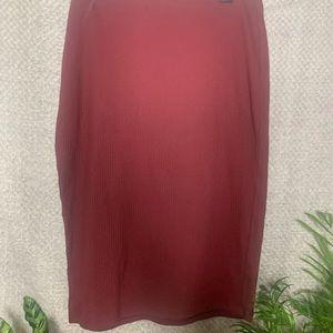 Maroon Ribbed Skirt